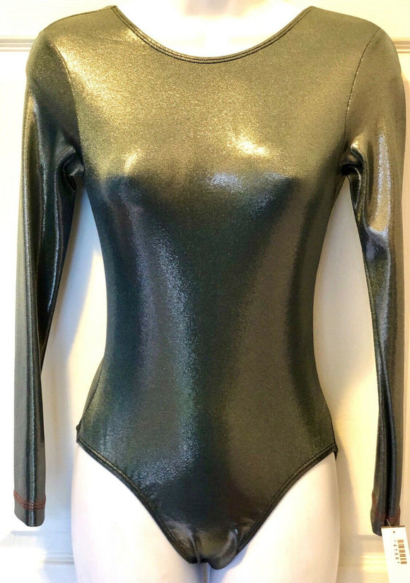 GK ELITE LgS LADIES SMALL STEEL MYSTIQUE BASIC GYMNASTICS DANCE LEOTARD AS NWT! - Outlet Values