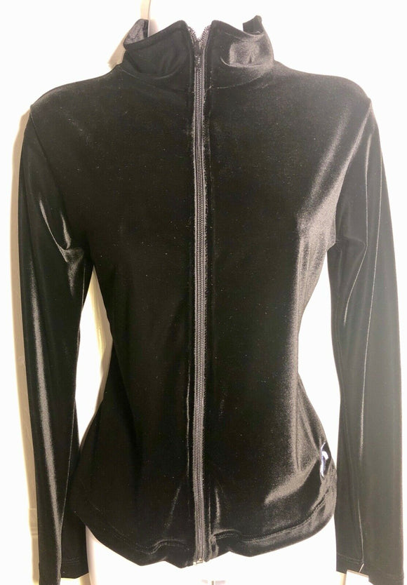 GK WARM UP JACKET LADIES SMALL BLACK VELVET ZIP FRONT GYM DANCE CHEER SKATE AS  - Outlet Values