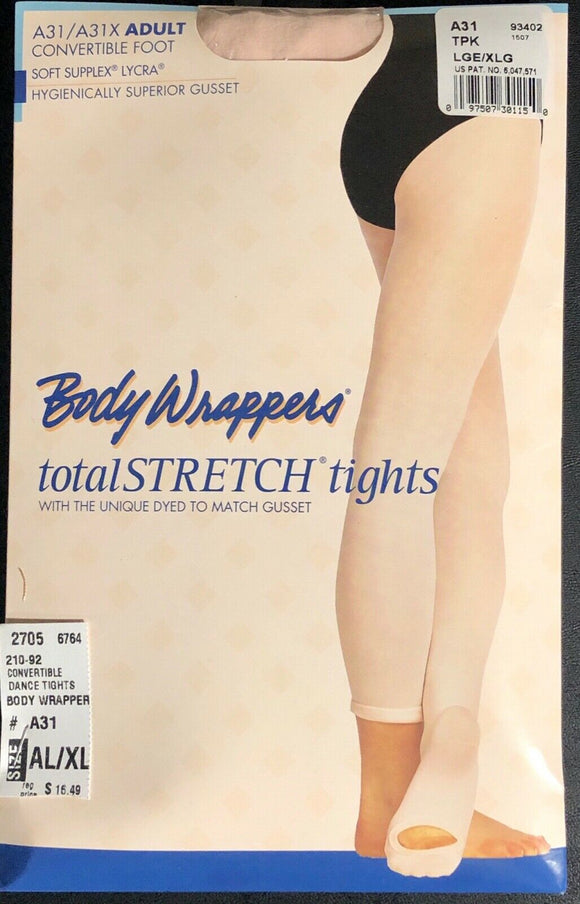 NWT! Body Wrappers Total STRETCH Convertible Dance Tights Spandex T-Pink AL/AXL - Outlet Values
