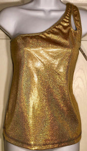 WAS $32.95 NWT! GK Elite Gold Hologram One Shoulder Dance Top Poly Size Adult XL - Outlet Values