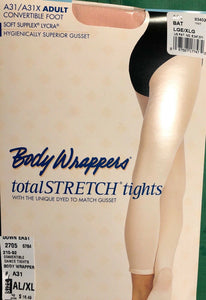 NWT! Body Wrappers Total STRETCH Convertible Dance Tights Spandex Pink Sz AL/XL - Outlet Values