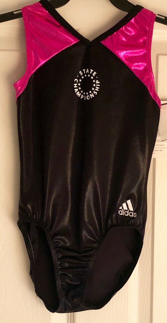 WAS $44.95 NWT! ADIDAS BLACK PINK FOIL STATE CHAMP GK GYMNASTIC LEOTARD  CHILD L - Outlet Values