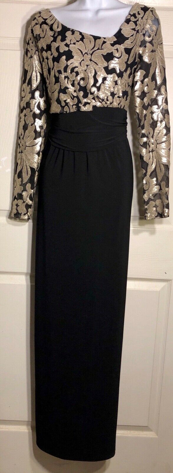 NWOT URSULA OF SWITZERLAND GOLD SEQUINZ BLACK CREPE GOWN SIZE 8 - Outlet Values