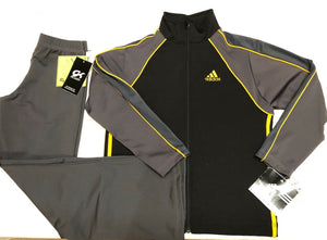 NWT ORIG $297.98! ADIDAS 2 PC WARM UP SUIT BY GK ELITE BLACK GRAY GOLD CHILD L - Outlet Values