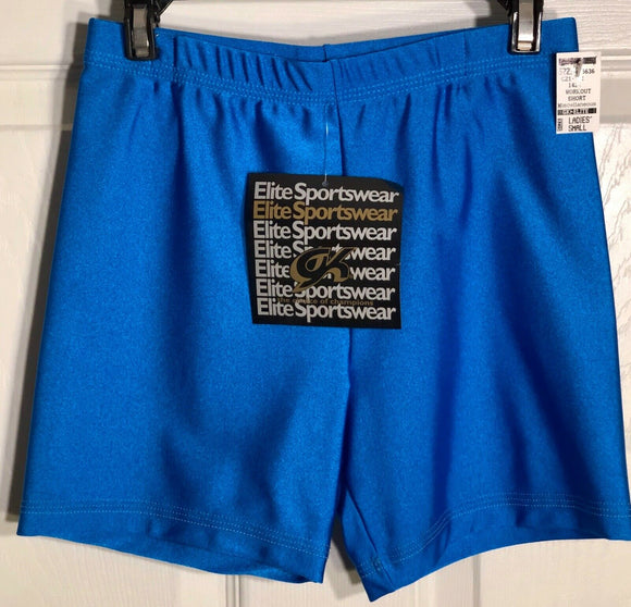GK WORKOUT SHORTS LADIES SMALL BLUE DANCE CHEER GYMNASTICS NYLON/SPANDEX AS NWT! - Outlet Values