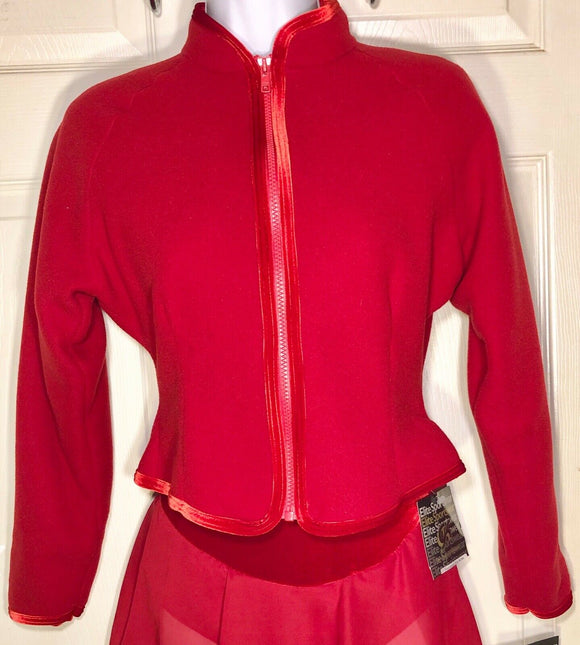 WAS $49.95 NWT! GK ELITE FITTED ICE SKATE JACKET RED FLEECE VELVET ZIP ADULT XS - Outlet Values