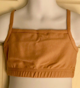 NWT! GK ELITE STYLE #1461 SPORTS BRA CAMI NUDE COTTON SPANDEX SIZE CHILD M - Outlet Values