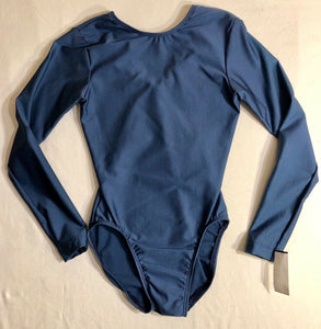 WAS $40.95 NWT! GK ELITE LONG SLEEVE SOLID NAVY GYMNASTICS DANCE LEOTARD CHILD L - Outlet Values