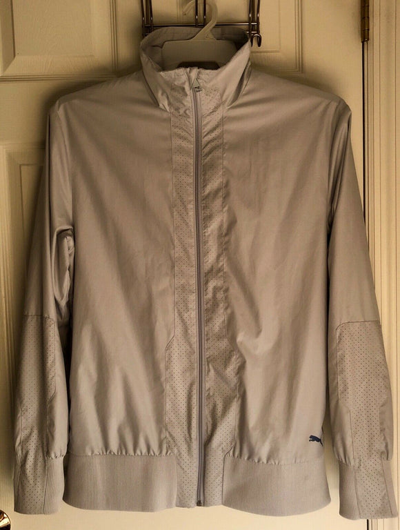PUMA MENS LONG SLEEVE FULL ZIP LIGHTWEIGHT GRAY TRACK GOLF JACKET SIZE S EUC! - Outlet Values