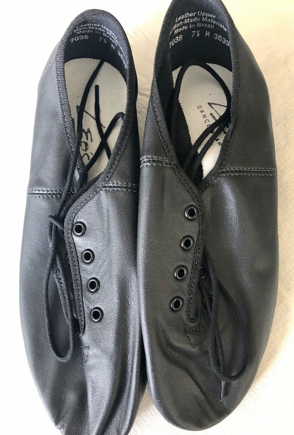 NWT! LEO'S 7038 BLACK MEDIUM ADULT 7.5 Split Sole Lace Up Jazz Dance Shoes - Outlet Values