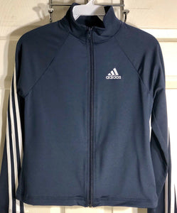 WAS $107.99 NWT! ADIDAS GK ELITE FITTED LONG SLEEVE NAVY JACKET SIZE CHILD L - Outlet Values
