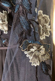 NWOT URSULA OF SWITZERLAND NAVY CHIFFON SHEER FLORAL EMBROIDERED GOWN SIZE 8 - Outlet Values