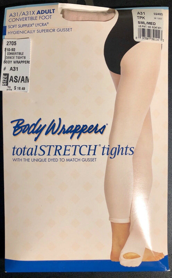 NWT! Body Wrappers Total STRETCH Convertible Dance Tights Spandex T-Pink AS/AM - Outlet Values