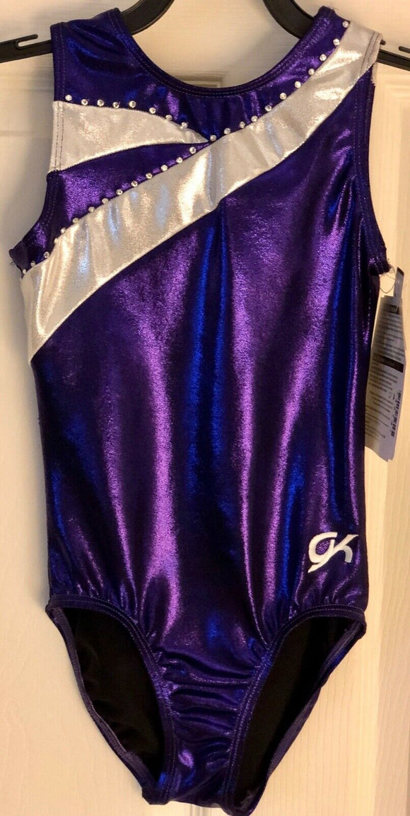 GK ELITE PURPLE GIRLS LARGE SILVER FOIL JA GYMNASTIC DANCE TANK LEOTARD CL NWT! - Outlet Values