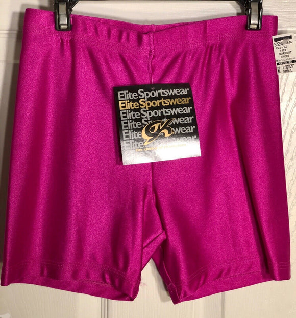 GK WORKOUT SHORTS LADIES SMALL PINK DANCE CHEER GYMNASTICS NYLON/SPANDEX AS NWT! - Outlet Values