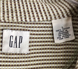 GAP MENS BROWN/TAN/WHITE STRIPED Short Sleeve Polo 100% Cotton Shirt Size L - Outlet Values