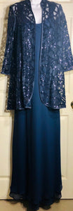 NWOT URSULA OF SWITZERLAND MISSY'S NAVY SEQUIN JACKET 2Pc EVENING DRESS SIZE 8 - Outlet Values