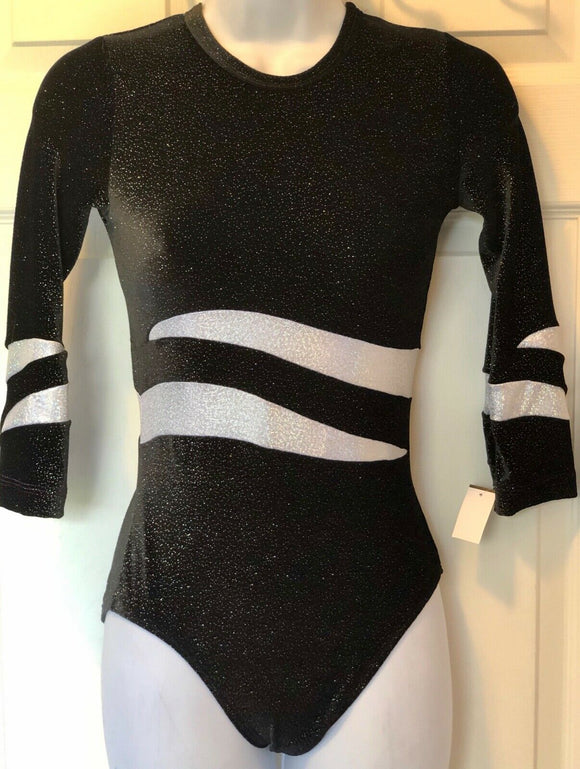 GK 3/4 SLV LADIES SMALL BLACK GLITTER VELVET WHITE FOIL GYMNASTIC LEOTARD AS NWT - Outlet Values
