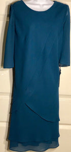 NWT URSULA OF SWITZERLAND WOMEN'S TEAL LAYERED LONG SLEEVE DRESS SIZE 16 - Outlet Values