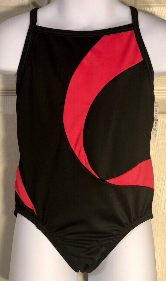 WAS $23.95 NWT! GK ELITE CHILD'S CAMISOLE GYMNASTIC DANCE LEOTARD BLACK CORAL CS - Outlet Values