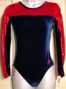 GK ELITE LgS LEOTARD ADULT MEDIUM RED FOIL ROYAL VELVET GYMNASTICS DANCE AM NWT - Outlet Values