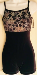 WAS $42.00 NWT GK Elite Ladies Cami BlackVelvet Gold Foil Dance Biketard Size AS - Outlet Values