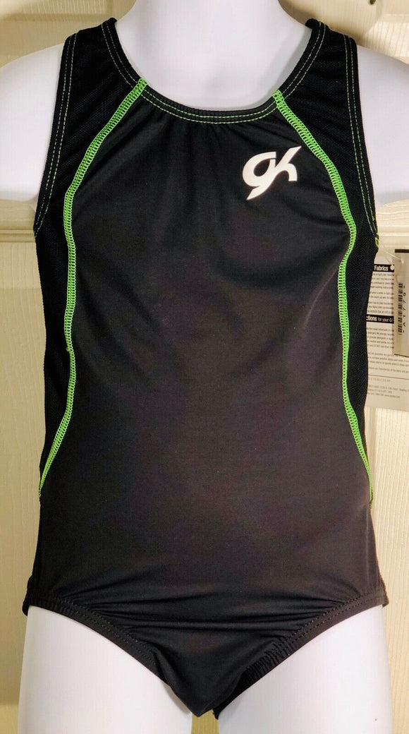 GK Elite Tank Gymnastic Dance Workout Nylon Leotard Black Lime Sz CS - Outlet Values