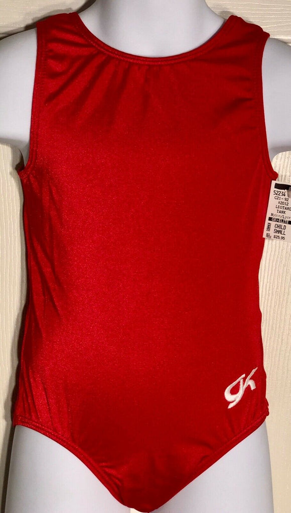GK Elite CLASSIC TANK CHILD SMALL RED NYLON/SPANDEX GYMNASTICS DANCE LEOTARD CS - Outlet Values