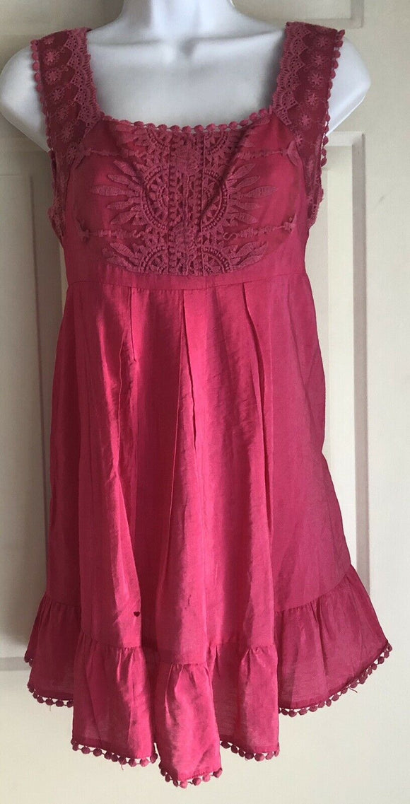 UNO CORE SLEEVELESS PINK BABYDOLL TOP Empire Waist Pom Pom Trim Lace Size M EUC! - Outlet Values