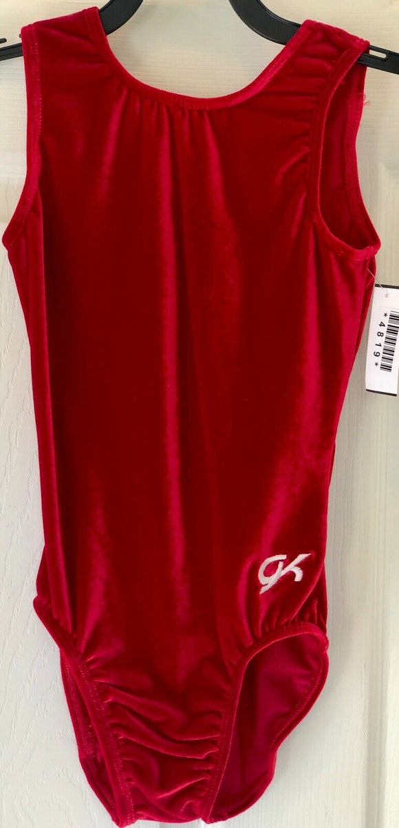 GK Elite TANK RED CHILD MEDIUM BASIC VELVET GYMNASTICS DANCE LEOTARD CM NWT! - Outlet Values