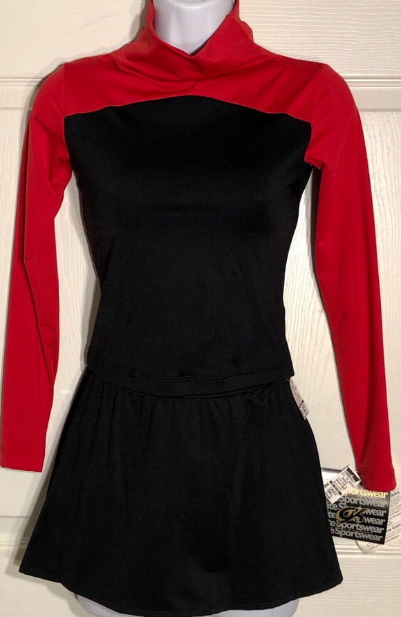GK LgSlv MICROFIBER LADIES SMALL RED BLACK FIGURE SKATE 2PC TOP/SKIRT SET AS NWT - Outlet Values