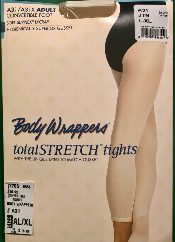 NWT! Body Wrappers Total STRETCH Convertible Dance Tights Spandex TAN AL/XL - Outlet Values