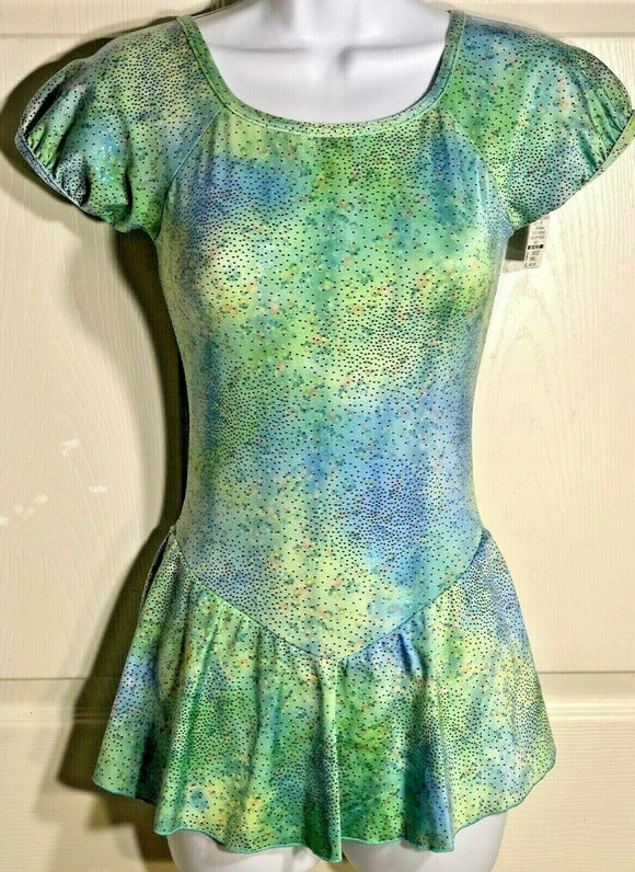 GK ICE FIGURE SKATE DRESS ADULT SMALL S/S GREEN FOIL LYCRA PRINT METAL JA AS NWT - Outlet Values