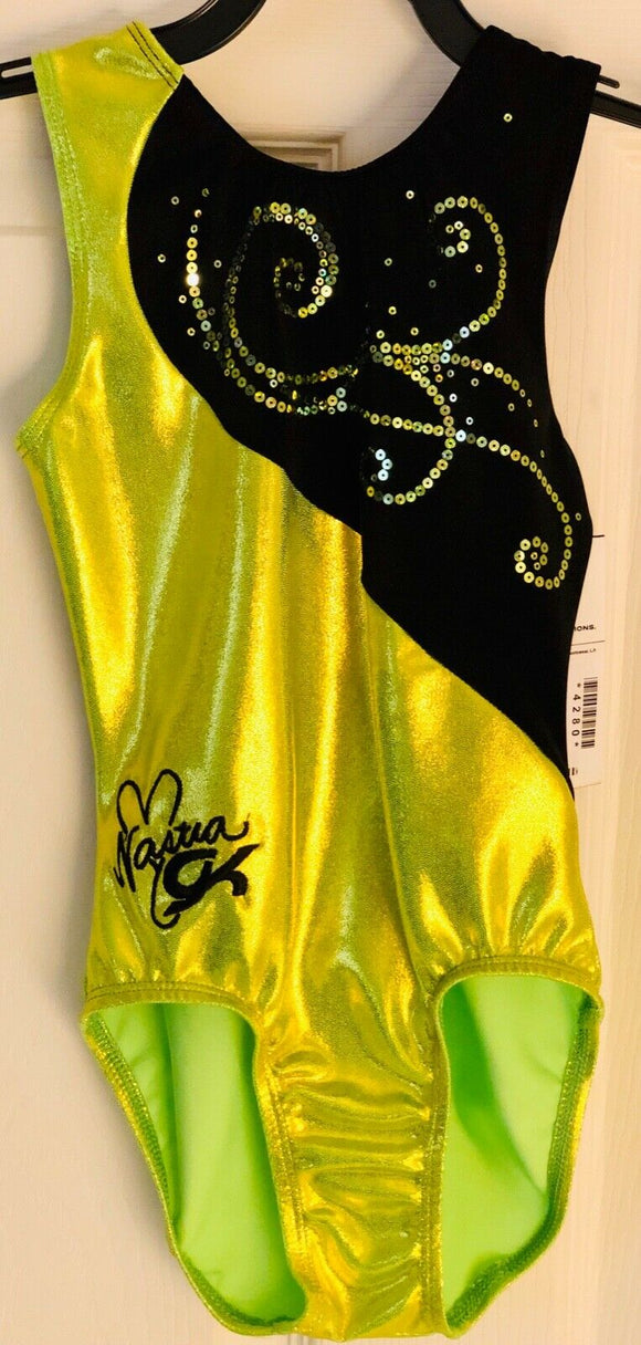 NASTIA LUIKIN FIREFLY GIRLS LARGE LIME FOIL SEQUINZ GYMNASTIC GK TANK LEOTARD CL - Outlet Values