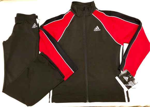 NWT ORIG $170.00! ADIDAS 2 PC WARM UP SUIT BY GK ELITE BLACK RED CHILD  L - Outlet Values