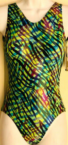 GK TANK LADIES SMALL WATERFALL N/S FOIL PRINT GYMNASTICS DANCE LEOTARD AS NWT! - Outlet Values