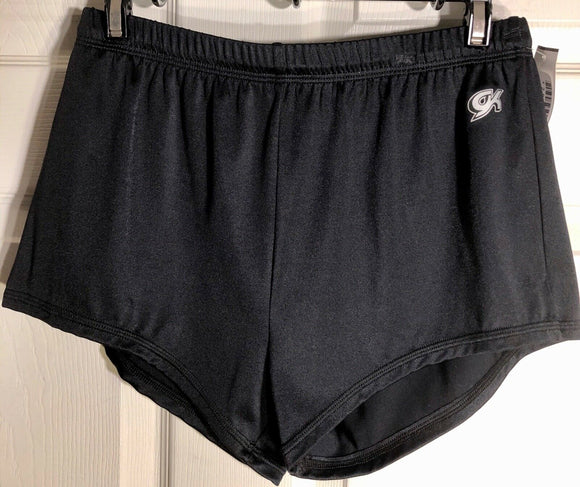 NWT GK ELITE MENS BLACK NYLON/LYCRA GYMNASTIC COMPETITION RUNNING SHORTS ADULT L - Outlet Values