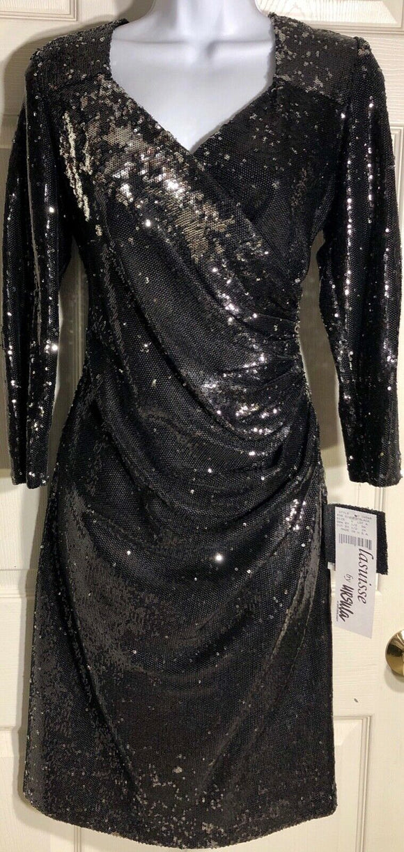WAS $357.99 NWT! Lasuisse by URSULA Micro Sequin Cocktail Dress Sz 8-16 - Outlet Values