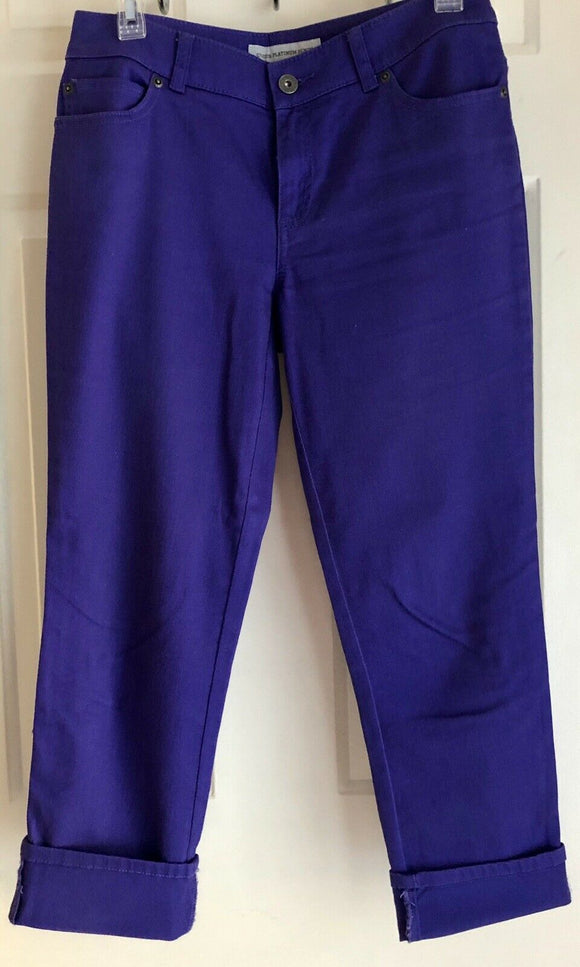 CHICO PLATINUM DENIM CROPPED  STRETCHY PURPLE JEANS SIZE O (SMALL 4) EUC! - Outlet Values