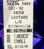WAS $115.95 NWT! GK ELITE LADIES LONG SLEEVE PURPLE VELVET JA GYMNASTICS LEO AS - Outlet Values