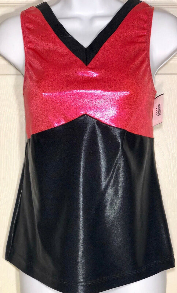 WAS $37.95 NWT! GK Elite Coral Black Foil Sleeveless V Neck Dance Top Adult XL - Outlet Values