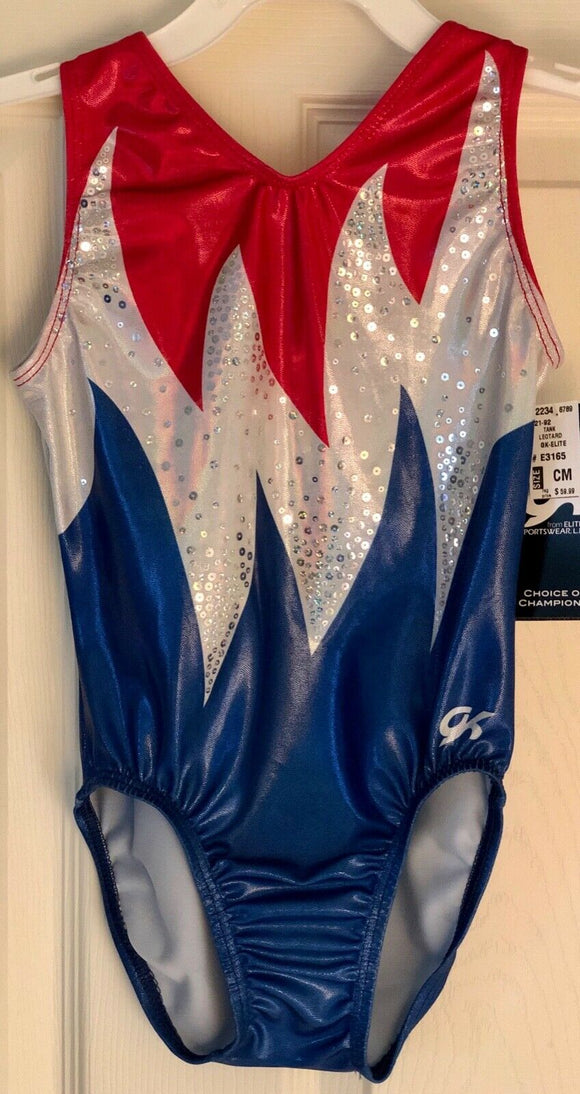 GK Elite Gymnastic Leotard CHILD M BLAZING FREEDOM Replica 2004 Athens Games CM - Outlet Values