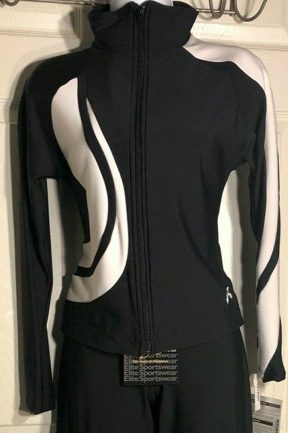 GK WARM UP JACKET ADULT SMALL BLACK WHITE SWIRL BT GYM DANCE CHEER SKATE AS - Outlet Values