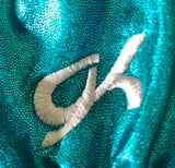 WAS $44.95 NWT! GK Elite 3/4 Sleeve Turquoise Mystique Gymnastic Dance Leo AXS - Outlet Values