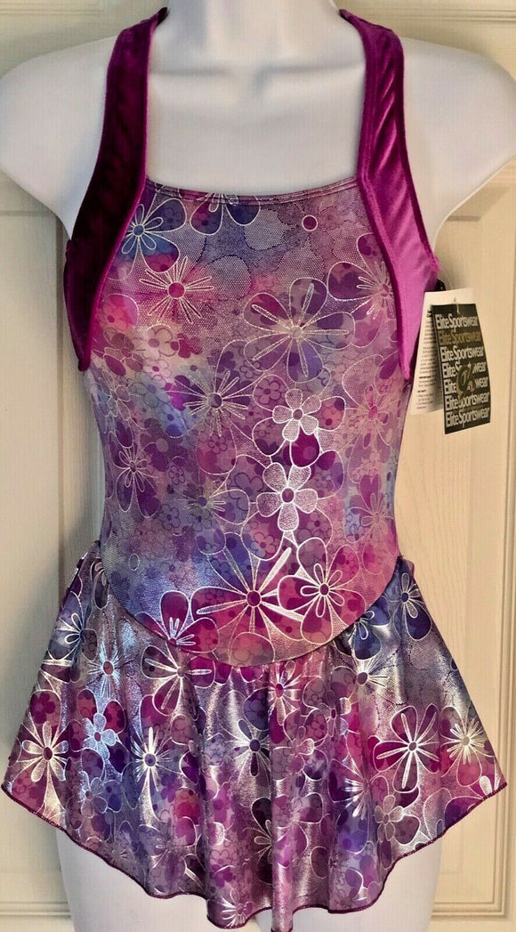 GK ICE FIGURE SKATE DRESS ADULT X-SMALL CAMI FOIL PRINT GRAPE VELVET AXS NWT! - Outlet Values