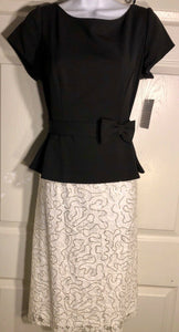 NWT! URSULA OF SWITZERLAND BLACK IVORY LACE SHORT SLEEVE COCKTAIL DRESS SIZE 8 - Outlet Values