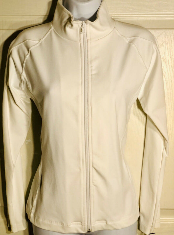 GK WARM UP JACKET LADIES SMALL WHITE BT ZIP FRONT GYM DANCE CHEER SKATE AS - Outlet Values