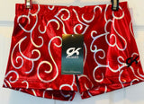 GK MICRO MINI CHEER ADULT SMALL LOW RISE RED SILVER FOIL WORKOUT SHORTS Sz AS - Outlet Values