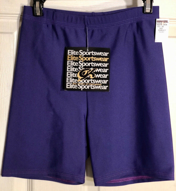 GK WORKOUT SHORTS LADIES X-SMALL PURPLE NYLON/SPANDEX DANCE CHEER GYMNASTICS AXS - Outlet Values