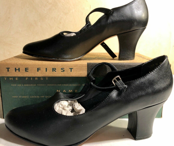 LEO'S NEW YORK T-STRAP LEATHER #938 TAP SHOES BLACK LADIES 11 M - Outlet Values
